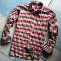 Men's Sand Beach Style Plaid Shirts With Long Sleeve and Gingham Fleck Checks