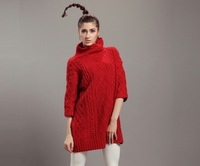 womens girl loose style red grey wool sweater pullover turtleneck three quarter long sweaters