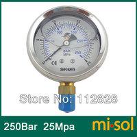"10pcs/lot Pressure gauge 25Mpa 250bar brass bar, Radial connection, BSP 1/4"""