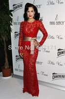 Dita Von Teese Red Color Sash See Through Long Sleeve Lace Evening Dress Celebrity Dress