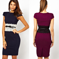 Free Shipping 2014 Fashion New Women's Elegant Knee-Length Pencil Casual Dress Vintage Patchwork Party Dresses With Belt