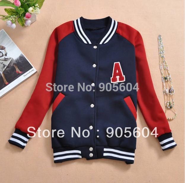 Promotion!Fashion Girls Leisure Badge Letter Baseball Shirt Sweater Hoodie Coat Jacket Ladies Tops Clothing Mixed Colors(China (Mainland))