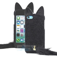 New 3D Cute Black Artificial Fur Plush Mink Cat Soft Case Cover for Apple iPhone 5 5S 5C Case + Pen A157-B