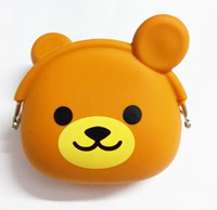 F07435 Bear Shape Jewelry Bag Purse Wallets Cosmetic Silicone Coin Bag Candy Colors for Women Girls + Free Shipping