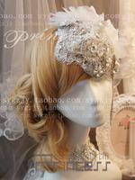 New arrival Bohemia tassel bride fedoras handmade lace rhinestone the bride hair accessory prom forehead hairstyles wholesale UK