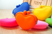 F07432 Heart Shape Lovely Jewelry Bag Purse Wallets Cosmetic Silicone Coin Bag Candy Colors for Women Girls Free Shipping