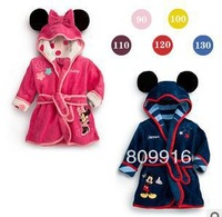 Free Shipping Winter Autumn Children Pajamas Robe Kids Micky Minnie Mouse Bathrobes Baby Cartoon Home Wear