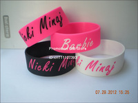 "Nicki Minaj Wristband, Silicon Bracelet, 1"" Wide Band, 4Colours, 50pcs/Lot, Free Shipping"