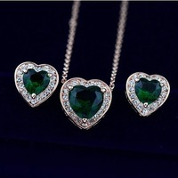 Brand Top Grade 18K Gold Plated Jewelry Sets Necklace+Earrings Environmental Fashion Accessories Free Shipping