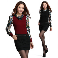 Cloth 2014 spring long-sleeve satin patchwork print knitted elastic thread slim female top