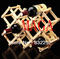 Free Shipping Hotsell Fashion Creative Fold  Solid Wood Wine Rack Home Use Wine Holder/Shelf for Three /Five /Ten Bottles