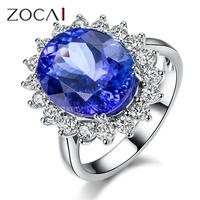ZOCAI BRAND BLUE OF CHARM 18K WHITE GOLD 5.0 CT TANZANITE 0.66 CT DIAMOND WOMAN RING W04413