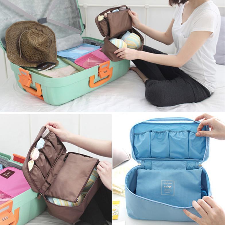 Women Girl Travel Cosmetic Makeup Toiletry Wash Storage Case Underwear Bra Bag(China (Mainland))