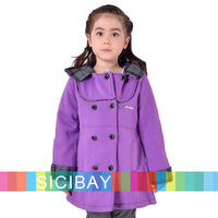 Autumn/Winter Girl Kids Coat Solid  Fashion  Warm  Outwear for  New Year Gift K4595