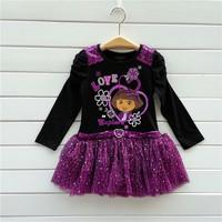 HOT!! NEW 2014 fall Baby Long sleeve DORA cotton dress Girls tutu dress Kids clothes Very good quality  2-6T Free shipping