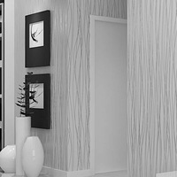 Fashion 10M Non Woven Flocking Vertical Stripe Wallpaper Rolls For Living Room Bedroom Beige/Creamy white/Grey Silver