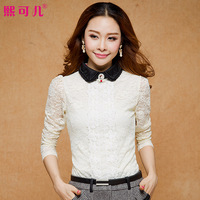 Kerr plus velvet autumn and winter lace shirt long-sleeve basic shirt peter pan collar sweet plus size lace top