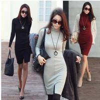 New 2014 spring women autumn Winter dress High Collar Knitted dresses Slim Fit Long Sleeves Split casual dress vestidos