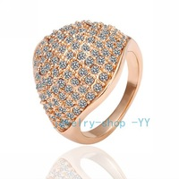 free shipping Accessories top 10 18k rose gold full Austrian Crystal fashion hat leaf finger Ring female jewelry _R050