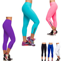 2014 New Fashion Solid Colour Candy High Waist Stretched Leggings Sporting Casual Yogo Pants Fitness 7 Point Leggings (7 Colors)