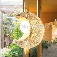 Child lighting rattan table lamp bedroom handmade knitted lamp  simple creative lamp