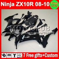 7gifts+custom hot glossy black For KAWASAKI NINJA 2008 2009 2010 ZX-10R MC2151 ZX10R ZX 10R 08-10 08 09 10  all black Fairing