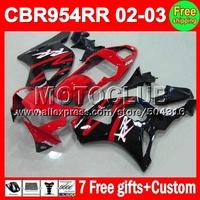 7gifts For 02-03 HONDA CBR954RR red black CBR900RR 954 954RR 2002 2003 MC6779 CBR 900RR 02 03 CBR954 RR Factory red HOT Fairings