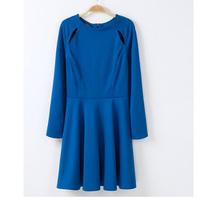 Free shipping 2014 Spring new fashion women's long slevee blue dress slim waist elegant Strapless one piece dress High quality