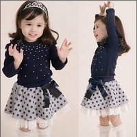 2014 autumn Children clothing set 2pcs set shirts+skirts 100% cotton pear style baby girl dress suit