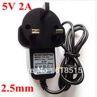 FreeShiping 200pcs/Lot Wholesale High Quality Tablet PC Charger 5V 2A DC2.5mm UK Plug Power Adapter for Android Tablet