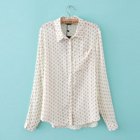 2014 New Fashion Women Arrow Printed Long-sleeved Slim Cotton Shirts Ladies Elegant Casual Blouses Stylish  BB12136