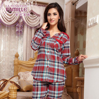 2014 spring and autumn lounge lovers plaid 100% cotton sleepwear female long-sleeve set