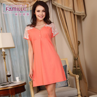 2014 new arrival nightgown female fashionable casual modal lounge dresses plus size