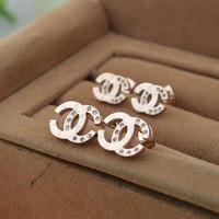 Women Luxury Brand Fashion Jewelry Crystal Rhinestone Stud Earrings Titanium Stainless Steel Rose Gold Earring Studs Acessories