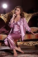 2014 spring autumn cute womens silk satin 3 piece sleep suit 3pcs pajama sets sleepwear big plus size lounge 3XL 2XL XXXL