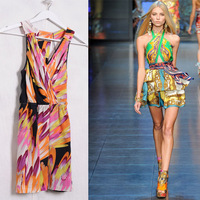 Q261 multicolour silk vest one-piece dress oil painting basic one-piece dress skirt s personality templet
