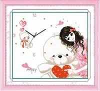 Print cross stitch new arrival clock bear and girl cartoon series