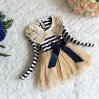 Hot-selling spring Sequins lace collar stripe baby girls princess dress 4 pcs/lot