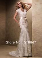 Custom Size New Elegant Long White/ivory Tulle Mermaid/Trumpet Cap Sleeve Applique Bridal Gown Wedding Dresses Free Shipping