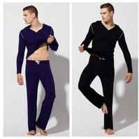 Men casual lungewear sport long sleeve hoodies top + pant sleepwear clothing set elastic modal spandex twinset men's yoga wear