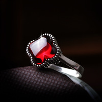 High quality silver 925 pure silver vintage thai silver four leaf clover garnet ring finger ring jewelry gift
