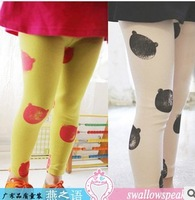 2014 new cartoon baby girls leggings for spring ,cute bear girls pantyhose baby stocking girl's pants/trousers/ boot cut 100-140