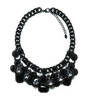 Z brand New Fashion Elegant Sparking Gray Gem Crystal Black Big Chunky statement Necklace Bib Collar New Fashion