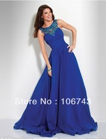 free shipping 2014 new design vestido Formal robe de soiree evening Dresseeant royal blue beaded long Elegant  party prom gown s