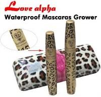 3set/lot, Double Waterproof Mascara LOVE ALPHA Leopard Case . Transplanting Gel,Fiber Mascara Set (Black)