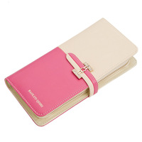 Paul knights of the day clutch female women's wallet genuine leather wallet color block female long design color block
