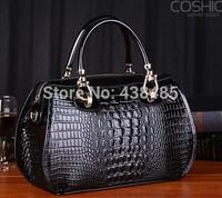 Crocodile Genuine Women's Leather Handbags Brand Famous Ladies Handbags Black Shoulder Bag Luxury Tote Bag