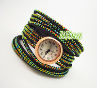 New arrival / Beautiful quartz watch with and leather green /Resin diamond. The bracelet winds around the wrist two