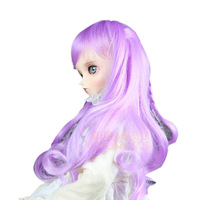 Fashion Long Wavy Heat Resistant Cosplay Wig Big Spiral Curl Wigs With Bangs Adorable Purple Wig Hair For Women GZJF-0009