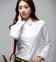 Hot Sale Spring Women's Long Sleeve Casual White Shirt Slim Waist OL Female Professional Minimalist Commuter Lapel Apparel